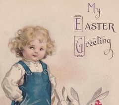 ELLEN CLAPSADDLE c.1920 Young Blonde Boy in Blue Overalls WITH 3 CUTE EASTER BUNNYS International Art Card Series 1917 EASTER GREETINGS Publicher from New York possibly WOLF1 (UpNorth Memories - Donald (Don) Harrison) Tags: vintage antique postcard rppc don harrison upnorth memories upnorth memories upnorthmemories michigan history heritage travel tourism michigan roadside restaurants cafes motels hotels tourist stops travel trailer parks campgrounds cottages cabins roadside entertainment natural wonders attractions usa puremichigan