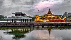 The Karaweik Palace and Royal Barge, Yangon, Myanmar (KSAG Photography) Tags: palace barge ship myanmar burma yangon rangoon royal lake asia southeastasia travel landscapes city reflection