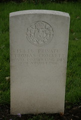 T. Crockett, Royal Inniskilling Fusiliers, 1916, War Grave, Poperinghe (PaulHP) Tags: ww1 war grave headstone marker belgium world first one service number military cemetery t thomas crockett private 15436 9th august 1916 rif royal inniskilling fusiliers 1st bn battalion poperinghe new james eliza jane drumlougher newtown cunningham co donegal 31 orchard row londonderry ireland irish
