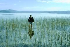 Wading along the Shores of The Broadwater, Myall Lakes National Park, NSW, 18th September, 1971. (garratt3) Tags: aus film myalllakesnationalpark northcoast pentax rural takumar lake bushwalking wilderness australia kodachrome nsw newsouthwales