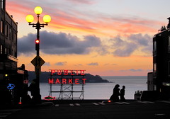 public market sunset (D G H) Tags: seattle city sunset silhouette downtown neon streetphotography pikeplacemarket pikeplacepublicmarket daveheston