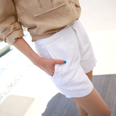 Song Hye Kyo with cotton and linen shorts girls summer lax plus size casual simple straight tall waist wide leg pants women