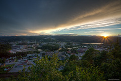 Hometown Sunset (sdhweb) Tags: sunset colors colours water scenic scenery norway vennesla town fjord rocks nature landscape outdoors photography hdr buildings overview viewpoint
