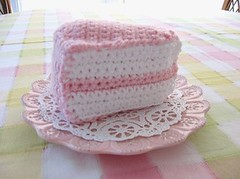Crocheted slice of cake (retro_girl_design) Tags: crochet cake play kids food pretend toys sewn sweet pink retrogirldesign etsy yarn tea party unbirthday birthday handmade