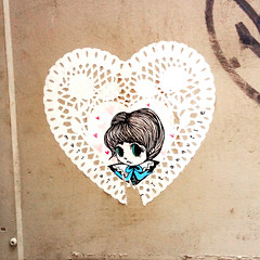 Art by Starchild Stela (Exile on Ontario St) Tags: stela montreal streetart graffiti plateau ruelle montral street art urbain urban wall murals mural walls painting plateaumontroyal alleys alley ruelles alleyway alleyways wheatpaste pasteup girl radical cute woman starchild radicalcute laisser laissez tranquille starchildstela stella dentelle