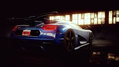 The One (alt.) (polyneutron) Tags: blue light car closeup photography pc depthoffield bloom videogame needforspeed supercar rivals koenigsegg racer nfs one1 photomode agera