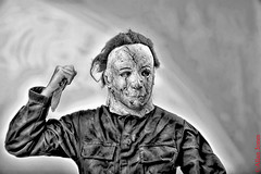 Scary picture (Allan Jones Photographer) Tags: scary spooky horror disturbing disturbed frightening mask knife attack fear allanjonesphotographer bw mono blackandwhite hdr photoshop canon5d3 canonef24105mmf4lisusm