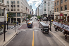 Buses in the Itty-Bitty-City (Sharky.pics) Tags: urban city wisconsin tiltshift july cityscape 2016 miniature milwaukee downtown