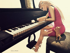 Unchained melody. (~ ds tll) Tags: venusshoes lavianco littlebones jian swallow purplemooncreations itdoll sl secondlife avatar cute girl cat pet piano music melody slink maitreya catwa