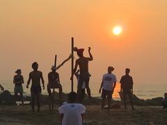Sunset in Ngapali Beach (Give-on) Tags: asia burma myanmar ngapali beach bayofbengal sunset local game football ball net