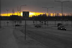(Jori Samonen) Tags: sunset winter snow cars traffic signs trees cloudy street viikki helsinki finland trafficsigns