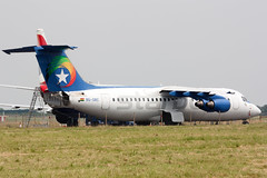 Star Turn (Al Henderson) Tags: 300 9gsbc airport aviation bae146 bedfordshire cranfield egtc starbow airliner regionaljet england unitedkingdom gb