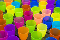 Colored plastic cups (Jan van der Wolf) Tags: map14498ve cups bekers colors colours kleuren herhaling repetition