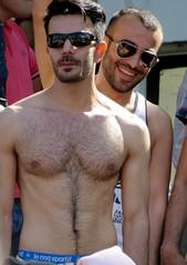 gaypride 2016 amsterdam (gerben more) Tags: handsomeman hairychest sunglasses smile smiling men gay gaypride people portrait portret two spectators shirtless amsterdam netherlands nederland