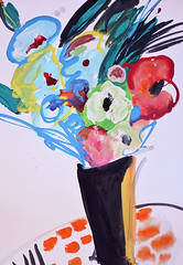 Black vase of blue wild flowers (amaradacer) Tags: flowers watercolor contemporary figurative abstract expressionist impressionist red blue black vase stilllife bold