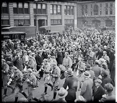 Hunger marchers leave NY & head for DC: 1931 (washington_area_spark) Tags: largegroupofpeoplemarchprotestpoliticalandsocialissuesmarchingbandmusicspectatorsmanhattan hunger march 1931 washington dc new york city demonstration protest unemployed councils relief insurance workers communist party