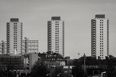 Crossways Estate (Gary Kinsman) Tags: crosswaysestate london towerblock tower architecture brutalism brutalist row line socialhousing councilestate bow eastlondon queenelizabetholympicpark olympicpark e15 canoneos5dmarkii canon5dmkii stratford towerblocks highrise 2016 modernism modernist canon70300mm telephoto zoom compression bw blackwhite