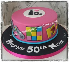80s Themed Birthday Cake (Creations By Paula Jane) Tags: birthday cake 80s pink rubix cube mtv pacman atari