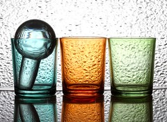 Three plus One (Karen_Chappell) Tags: three glass glasses blue green orange textures stilllife ball orb sphere circle round reflection colourful colours multicoloured