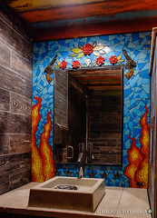 Wall Street Cantina mosaic mural (Phuzy Logik ♥ CherieBosela.com) Tags: roses bathroom restaurant orlando mural ceramics downtown mosaic mexican tiles fl porcelain wallstreetcantina