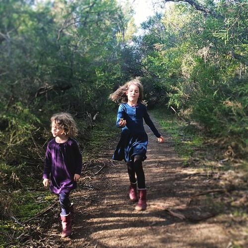 151/365 • running back down the path - a beautiful sunshiney still afternoon • #151_2015 #7yo #4yo #cribpoint #nature #Winter2015 #sisters #morningtonpeninsula