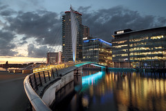 BBC Salford Quays Manchetser (seegarysphotos) Tags: manchester salfordquays night urban lights water bridge neon moody atmosphere reflections towere flast apartments outdoors nightscene clouds sky ciityscape walkway offices seegarysphotos garylewis