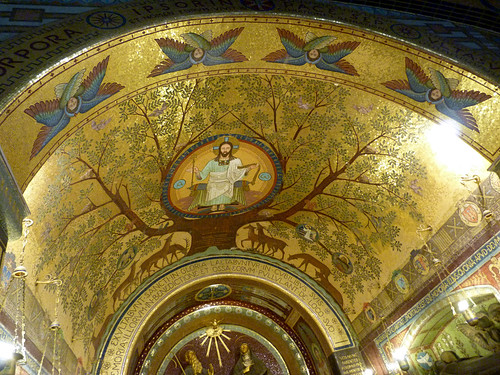 Monte Cassino - the abbey church, crypt, sanctuary ceiling