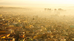 The Dawn of Napoli (Skyholique) Tags: dawn morning italy napoli naple cityscape skyscrapper sky sun sunrise travel sightseeing skyholique golden backpack