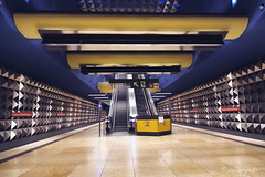 stainless (cherryspicks (intermittently on/off)) Tags: city travel urban station architecture modern train germany underground subway munich stainlesssteel metro transport ubahn oez olympiaeinkaufszentrum