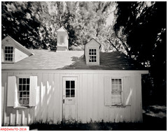 Farm workers residence (DelioTO) Tags: summer ontario canada architecture rural blackwhite woods doors trails july pinhole historical 4x5 toned d23 f250 autaut panx100