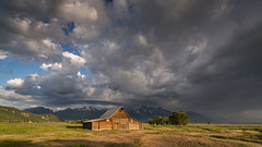 Moulton Barn (Jeremy Duguid) Tags: park morning travel summer sky usa cloud mountain mountains west nature clouds barn sunrise landscape rockies photography dawn landscapes sony grand jeremy national western wyoming peaks teton tetons cloudscape cloudscapes wy moulton duguid gtnp