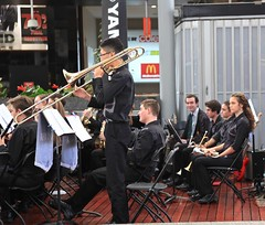 St Pauls College Band and Choir, Queen Street Mall Brisbane, (Photos by Lance) Tags: citysounds brisbanecitybandsfestival stpaulssymphonyandstringsandchoir brisbanecbd brisbanecitymall queenstreet outdoor music performers schoolbands yamaha symphony musicexpress brassinstrument