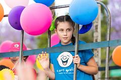 Kids - Camp Quality wave - Jacaranda Parade 2015 (sbyrnedotcom) Tags: 2015 people events grafton jacaranda parade rural town campquality blue girl float cage bars nsw australia