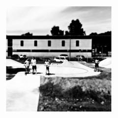 the golden age of neglect (japanese forms) Tags: japaneseforms2016  bw blackwhite blackandwhite blancoynegro bokeh candid edtempleton monochrome random schwarzweis skatepark square squareformat strasenfotografie straatfotografie streetphotography thegoldenageofneglect vlaanderen zwartwit kids kinder kinderen