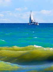 Waves (imageClear) Tags: waves lakemichigan lake water sailboat boat beauty sunny color windy aperture nikon d500 80400mm imageclear flickr photostream