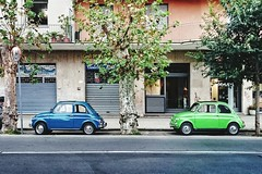 Twins Transportation Car Street Parking Road Tree City Life Parked Green Blue Side View Side Fiat Fiat 500 Classic Car (Ciccio Pizzettaro) Tags: twins transportation car street parking road tree citylife parked green blue sideview side fiat fiat500 classiccar