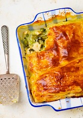 Puff pastry pie with chicken and vegetables (Zoryanchik) Tags: food white hot chicken vegetables dinner pie crust lunch cuisine healthy dish cream puff plate vegetable meat pot homemade snack meal carrot pastry cooked pea savory baked