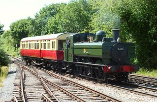 GWR Pannier Tank Loco 6430, approaching North Weald, paired with Autocoach W167. Great Western Weekend, Epping Ongar Railway. 07 06 2015