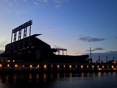 The Ballpark (Frankenstein) Tags: sf sanfrancisco china california sunset water bay baseball stadium basin chinabasin missionbay mccoveycove attpark iphoneography