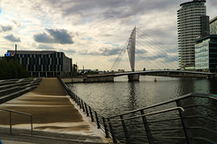 (mindthegaps) Tags: bridge salfordquays sky clouds england europe manchester unitedkingdom water