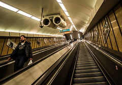 Down to the Metro (mikebakker2) Tags: city people man architecture stairs underground subway europa europe downtown hungary metro budapest ungarn magyarorszg