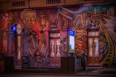 going to the subway (karinavera) Tags: street city longexposure travel windows urban night subway graffiti hotel avenida mayo exploration wal nikond5300