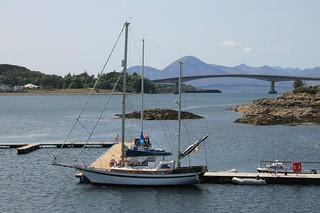 gorgeous days in Scotland: Kyle of Lochalsh, view towards Kyleakin, Skye Bridge and Isle of Skye