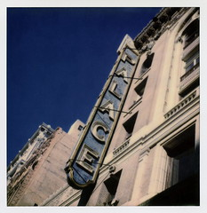 Palace (tobysx70) Tags: the impossible project tip polaroid sx70sonar sonar instant color film for sx70 type cameras impossaroid palace theatre broadway dtla downtown la california ca neon sign movie theater blue sky route 66 rt rte dtlapolawalj2 polawalk 071616 toby hancock photography