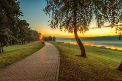 Birstonas in evening (Geraldas) Tags: birstonas lithuania nemunas background color environment fog foliage forest goldenevening landscape leaf light nature night outdoor park resort river road season street summer sunset trees yellow