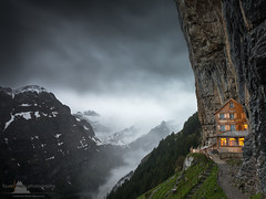 Alpine Shelter (www.fourcorners.photography) Tags: gasthausaescherwildkirchli ebenalp appenzell switzerland cliff alps mountain trail hike restaurant shelter hotel storm leend06 badweather rain clouds peterboehringerphotography fourcornersphotography