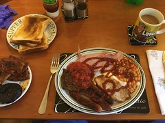 Mmmmmmmmm! (Day 291 of 366) (Gene Hunt) Tags: mixedgrill bacon porksteak liver redtomatoes potatocakes blackpudding friedegg lancashireporksausages beans toast tea 201516yip project366 appleipodtouch6thgeneration 2016