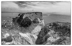 thats as far as im going (Mark Rigler UK) Tags: old harry rocks foot path sea sky dorset swanage black white photo frame