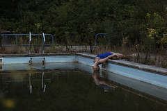 years after the pool party (laura zalenga) Tags: pool water abandoned girl woman morning early dark calm blue fog selfportrait laurazalenga