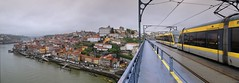 The metro train on the Dom Luiz I metal arch bridge of Porto (Bn) Tags: porto oporto arteaosmolhos alley raining day rain tower architectural heritage portugal bell church strolling up climbing climb capital douro river city cluttered cobbled ascending decending local markets facades harbor tourism tourist walking port wines unpretentious urban faades ambience old history characteristic symbols unesco world travel monastery sdoporto cathedral roman catholic cloister covered walk gallery decorations ceramic wisdom solomon pontelusi luizi bridge luiz electric tram domlusibridge metrodoporto rainy umbrella sandeman
